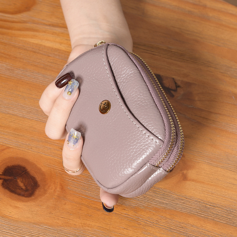 Yaoyun Baba leather pocket girl 2019 fashionable double zipper coin bag lady cowhide pocket
