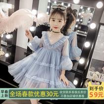 Девушки платье весна 2020 новая корейская версия маленькая девочка весна осень юбка дети паутина красный принцесса платье прилив