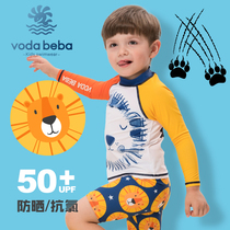 Voda Beba childrens swimsuit VB boys lion long-sleeved sunscreen quick dry small and medium-aged childrens two-piece swimsuit suit
