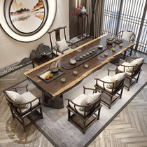 Tea table Solid wood tea table Kung fu big board Zen new Chinese modern simple creative household tea table Tea table and chair combination
