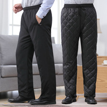 Winter dad cotton pants outside wearing middle-aged and elderly plus cotton men loose thick knee protection warm tight casual pants