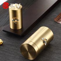 Pure copper inlaid silver tea jar Bee seal jar Small tea storage Copper tea storage portable mini travel tea box