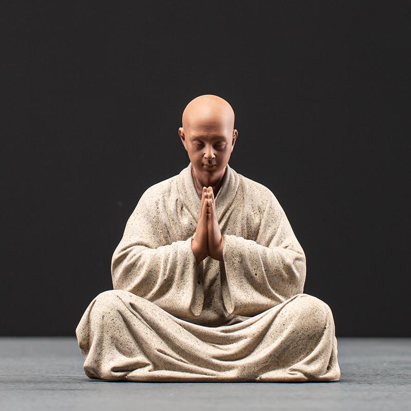 Long-established kung fu small monk tea favorite ornaments boutique can support Zen decorative tea table set tea ceremony tea accessories