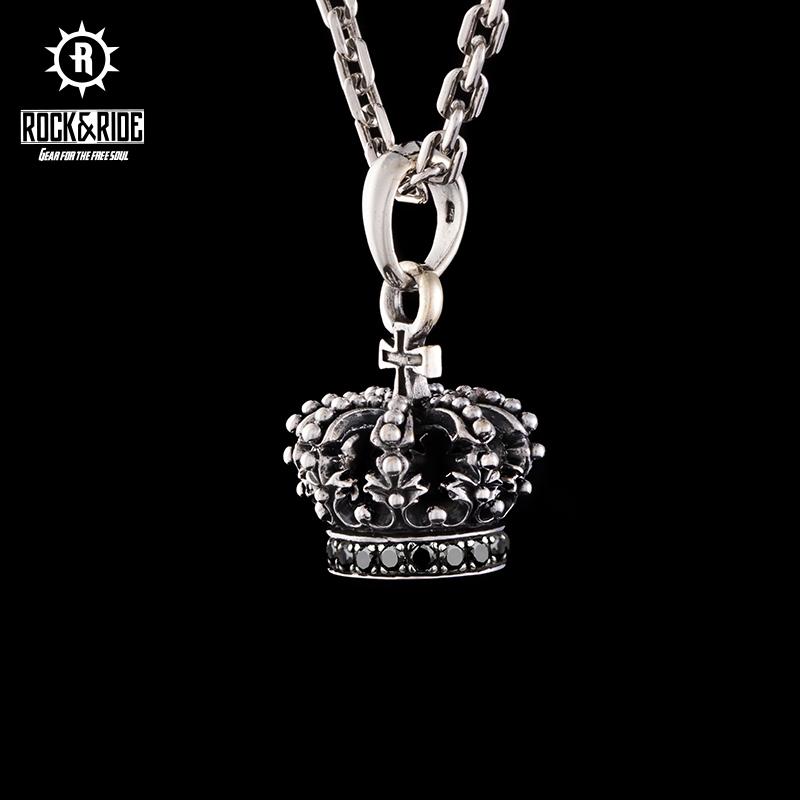 Rock ride American brand imported handmade 925 silver crown necklace female small couple fashion ins Pendant
