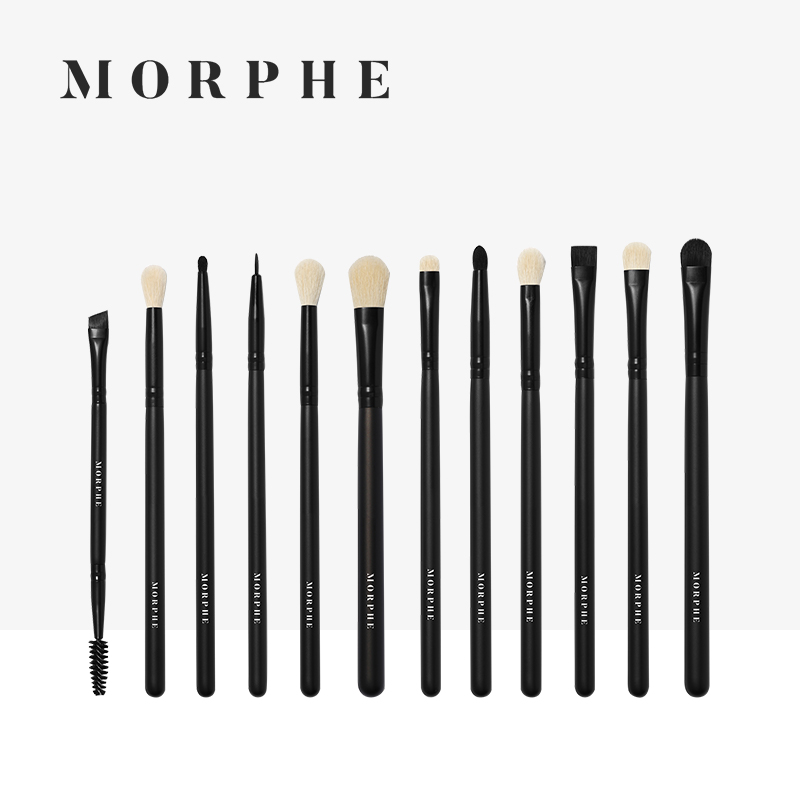 Morphe makeup brush, black wood series eye sleeve brush, 12 halo dyeing foundation introductory tools, eye shadow brush.