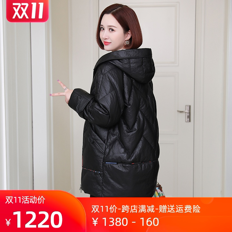 Leather down jacket womens 2020 new hooded Korean version loose sheepskin large size jacket in the long version of Haining leather clothing