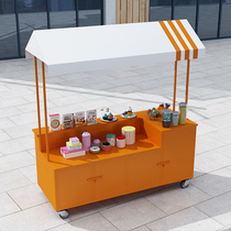 European-style mobile Wrought iron float Outdoor stall car display table Snack trolley Sales truck Food truck booth stall