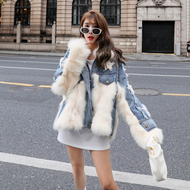 2020 New Fox Fur Coat Womens Mid-Length Star Denim Pie Overcomes Fur-in-One Coat Winter Tide