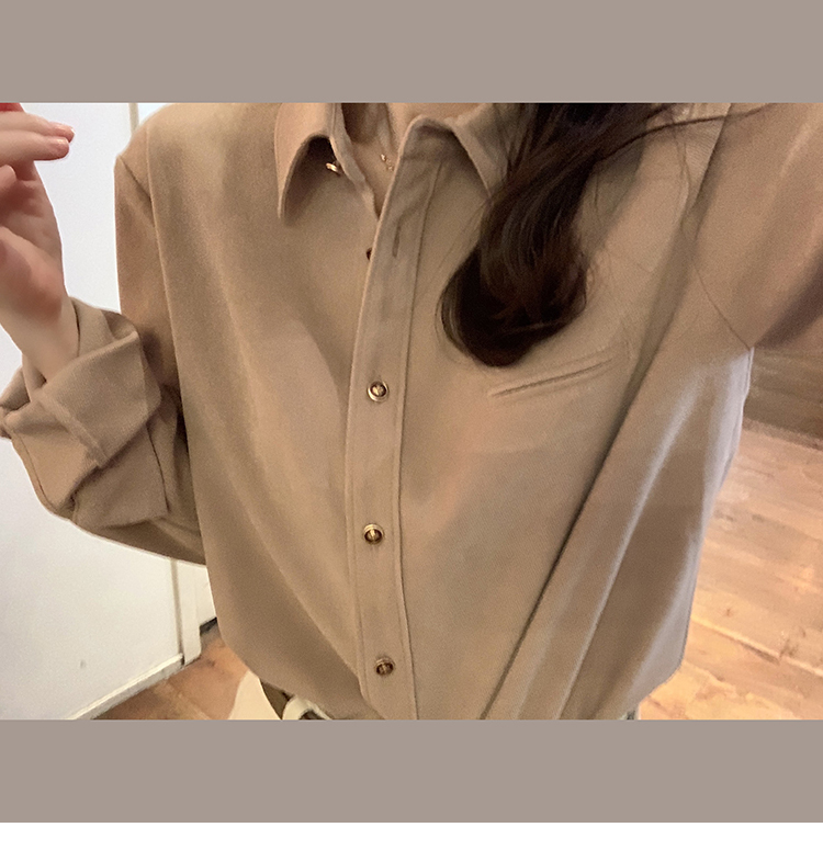 The new autumn winter 2020 shirt womens grinding hair is not wrinkled wearing a shirt long-sleeved design sense of niche inner top