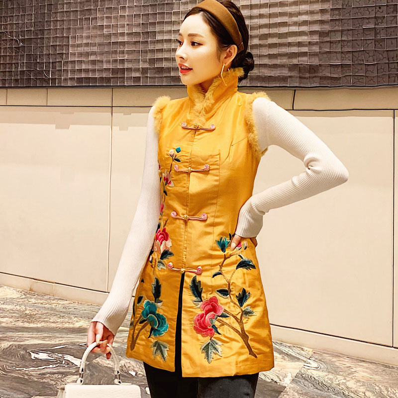 Tang dress female Chinese wind autumn and winter cheongsam top Chinese clip cotton warm medium and long version of vest reform thickening girl