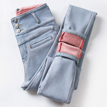 High-waisted plus velvet jeans womens leggings in winter 2021 New wearing thick warm tight pencil trousers