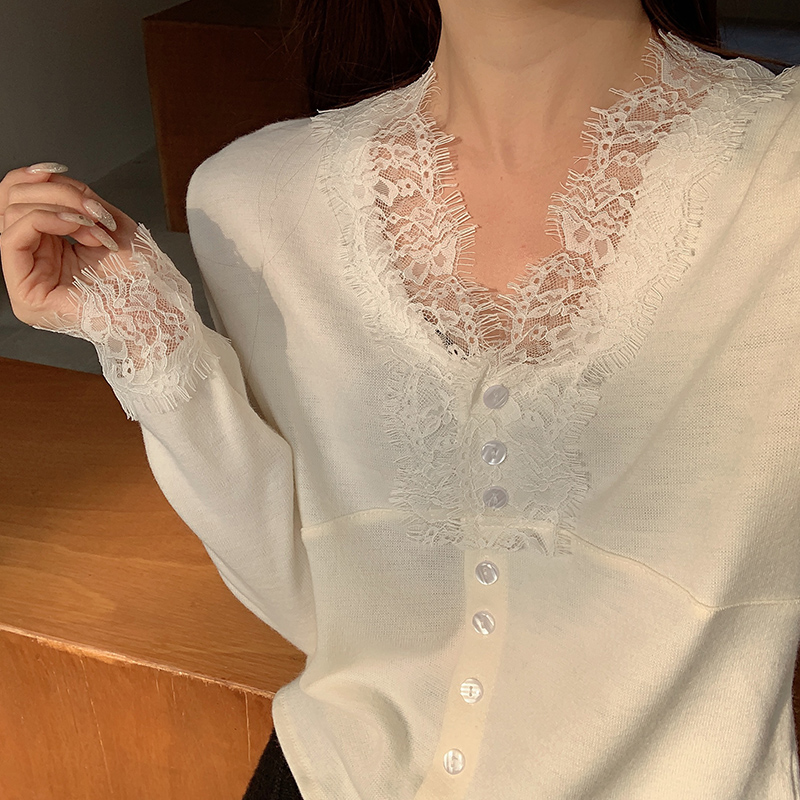White lace t-shirt mesh t-shirt womens new sweater with a foreign pie French top autumn and winter hundred set early spring