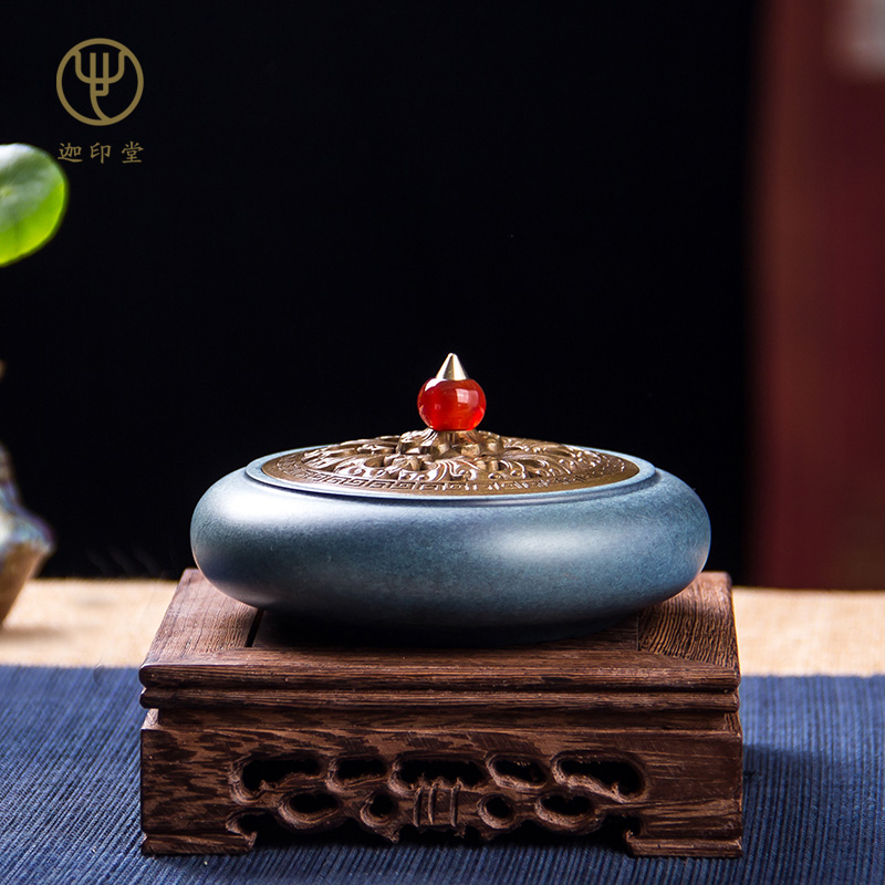 Jiayintang pure copper plate incense stove home antique Xuande stove copper stove creative decoration gold flower jade top