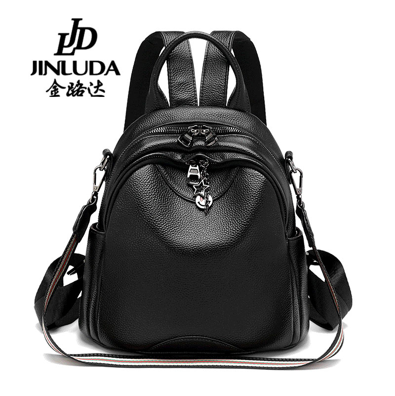 Jinluda small backpack female 2018 autumn Korean version of the first layer of leather shoulder bag mini bag soft leather tide