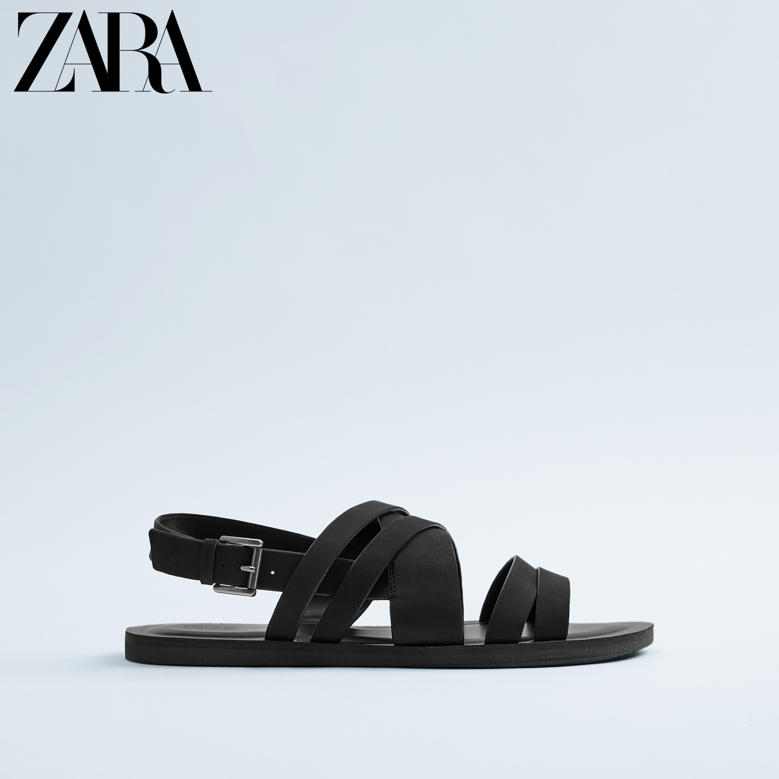Zara new men's Shoes Black Leather Sandals with decoration