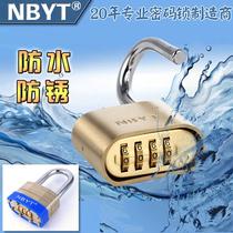 NBYT304 stainless steel key lock outdoor rain-proof waterproof rust-proof large courtyard iron door copper code padlock