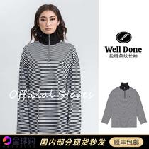 Official website spot we11done 21ss stand-up collar half-chain long-sleeved T-shirt welldone striped sweater women
