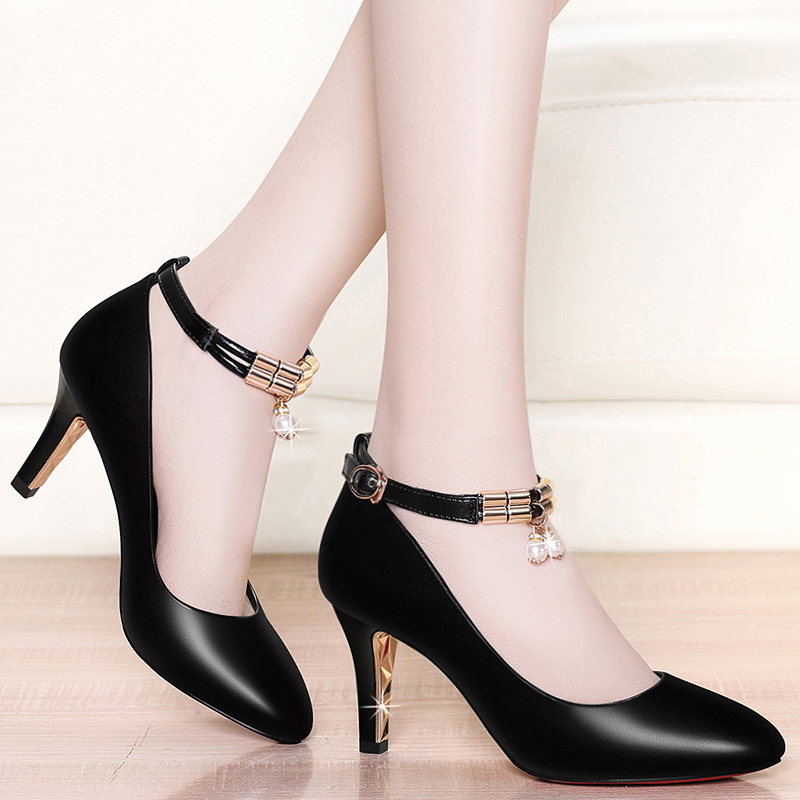 Shallow-mouthed Leather Shoes Female 2019 New Autumn and Summer Single Shoes Korean Version Baitie Fashion Female Shoes with Fine Heels and Point High Heels