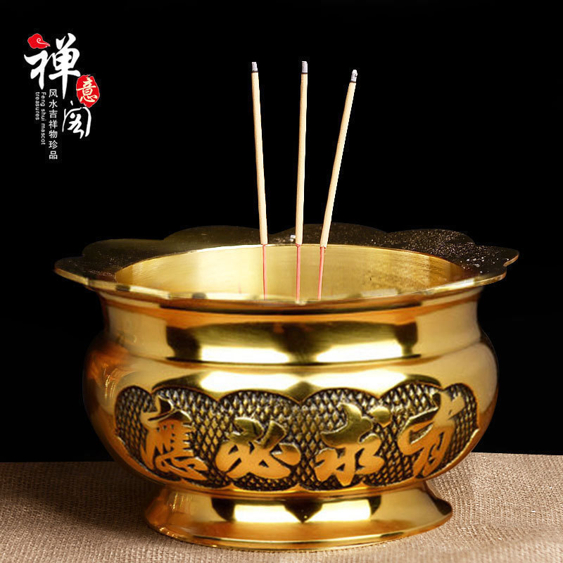 Chanyige Copper Incense Furnace Pure Copper Incense Furnace Ancient Residence Sandalwood Line Incense Furnace Buddhist Hall Buddhist Supplies