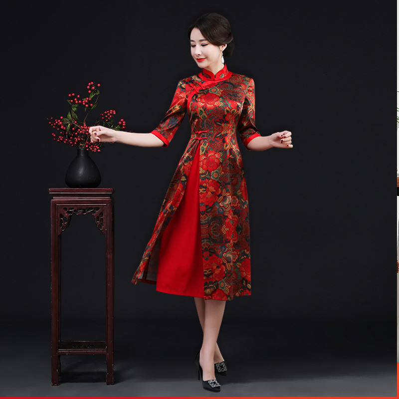 Wedding hi mother-in-law modified silk cheongsam dress Wedding banquet dress red evening dress spring and summer noble