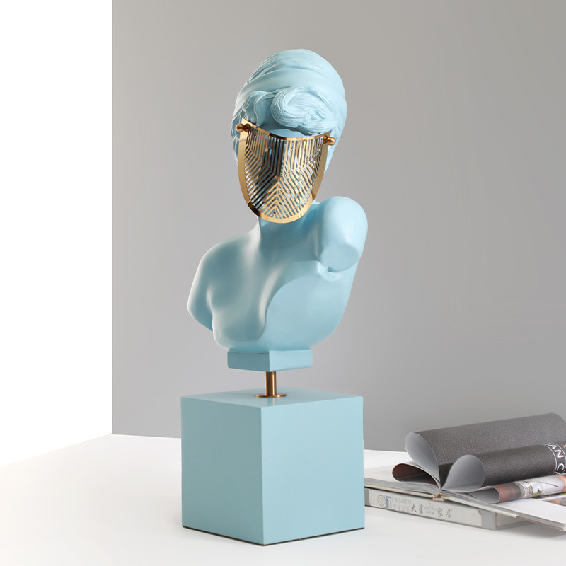 Modern Nordic furniture decorates masked girl figures with soft-furnished home crafts to decorate figure sculptures