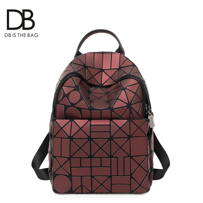 Backpack female Korean version 2018 new autumn tide bag personality fashion bag geometric rhombic casual backpack