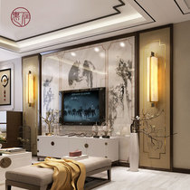 New Chinese wall lamp Living room natural marble lamp Chinese style modern simple all copper lamp Bedroom background wall lamp