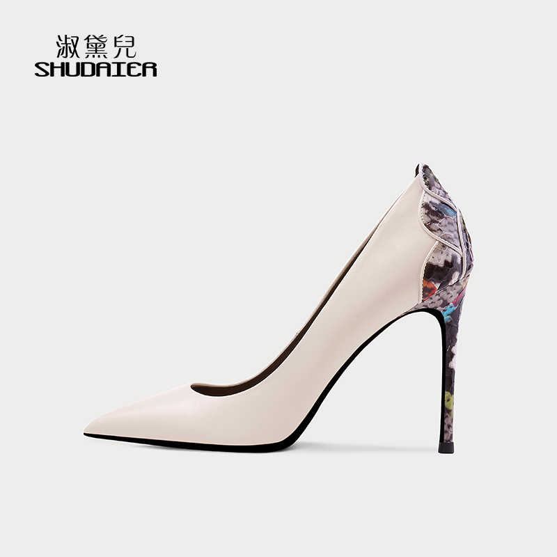 2019 autumn new Beige fetal cow leather shallow high-heeled shoes petal thin heel 10cm night club sexy women's single shoes