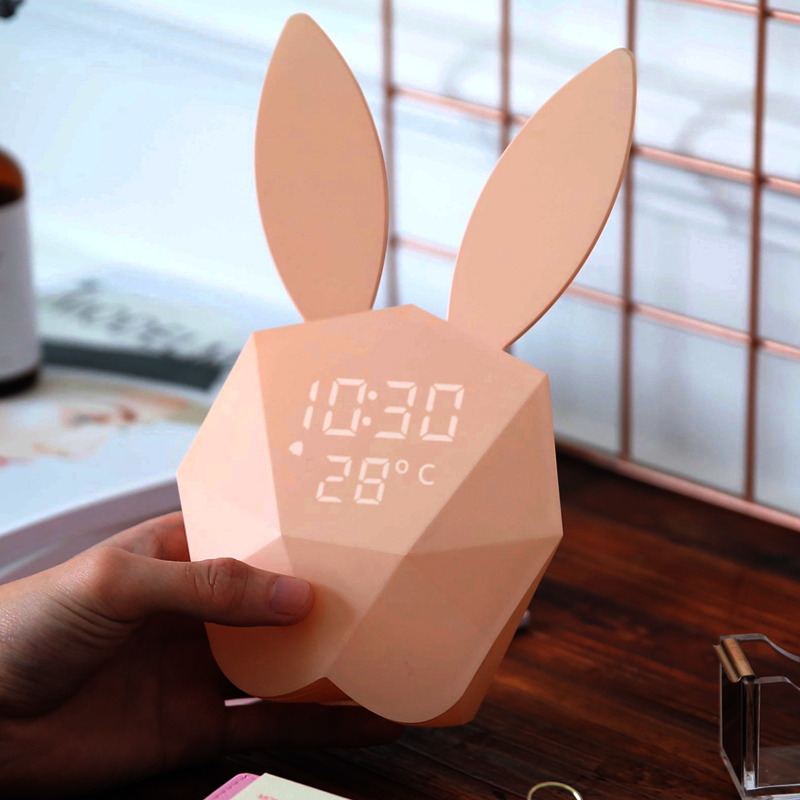 Student bedroom bedside night light rabbit electronic silent intelligent music small alarm clock creative cute children's clocks