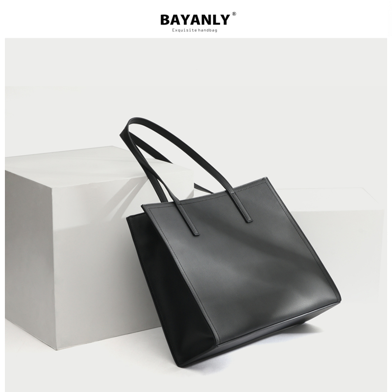Baggage Girl 2019 New Cowhide Hand-held Large Baggage OL Workplace Tote Briefcase Commuter Bag Business Single Shoulder Bag