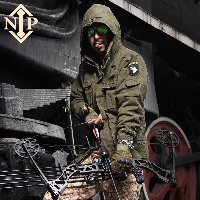 NIP Outdoor Men's Fall and Winter 2019 Plushed and Thickened Warm Cotton Clothing Mid-long Military Cotton Clothing Tactical Windshield