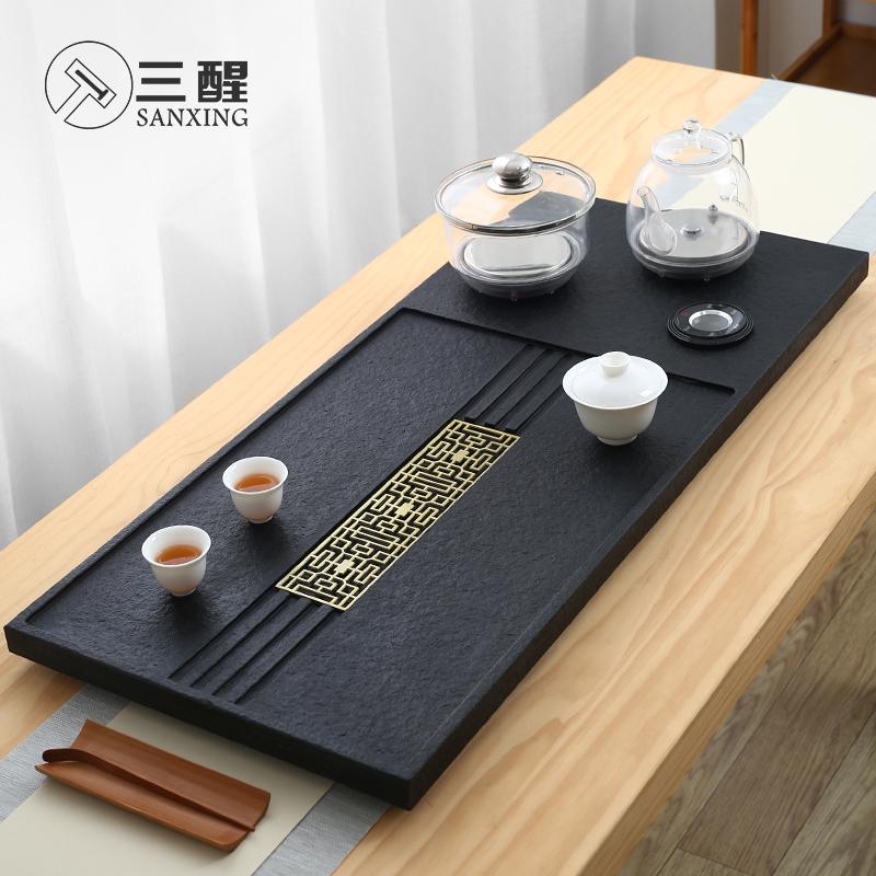 Set of household Wujin stone tea plate living room office a complete set of modern simple tea sea kung fu tea sets