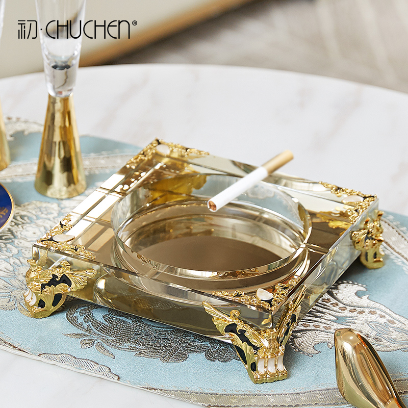Creative ashtray metal glass office negotiation table practical decoration European-style living room tea table household furnishings