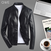 The new leather jacket with 2017 slim male Korean youth handsome men's cashmere thickened tide autumn winter coat