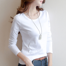 Two New Long Sleeve T-shirts of 59 Yuan, Autumn and Winter, 2019, Women's White T-shirts with Round Collar, Women's Korean T-shirts