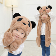 Children warm winter hat scarf glove three suit one ear cap collar men and women Tong Baobao family