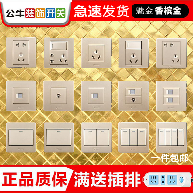 Bull G06 Champagne Gold Switch Household 16 A Socket Panel of 86 Type USB Power Supply with Double Five Holes and Large Spacing
