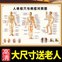 Human meridian point map large wall chart Chinese medicine Ai Acupuncture human acuity map home body large wall chart acupuncture HD