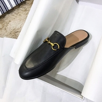2019 spring and summer new flat Muller shoes metal horsebit buckle leather Baotou lazy no heel half slippers women