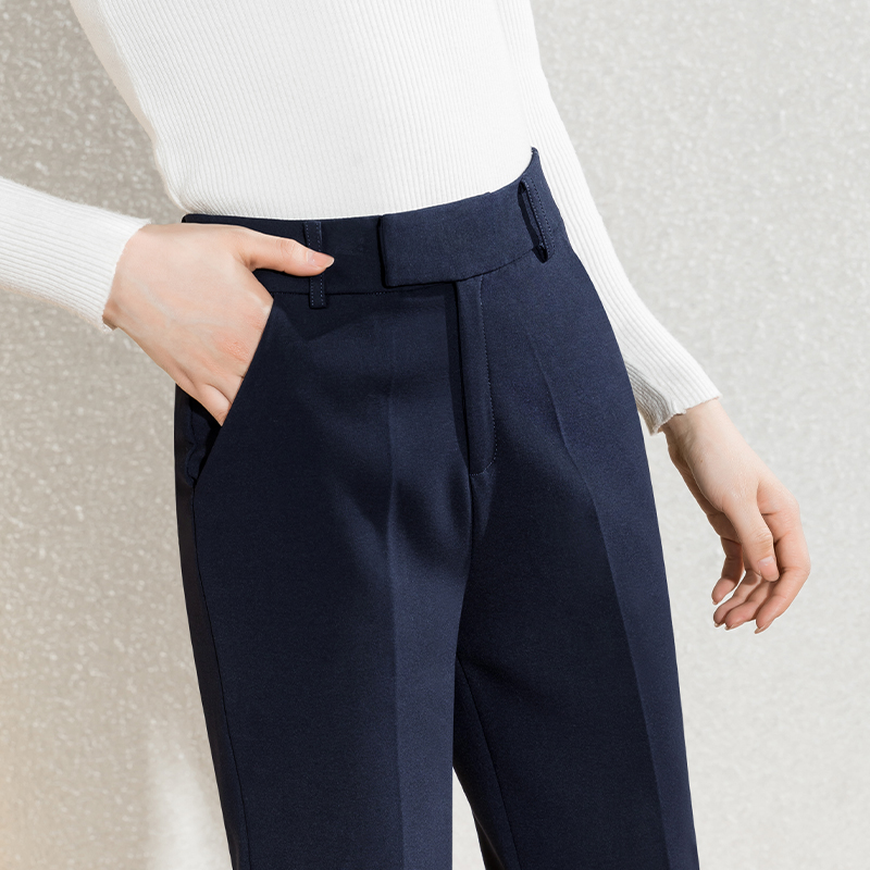 Yicheng suit pants Womens spring and autumn pants flagship store high-end straight womens pants nine points professional cigarette pipe pants summer