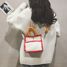 Spring 2019 canvas small square bag Japanese Korean version ins recreational slant straddle handbag pocket change purse collision color bag