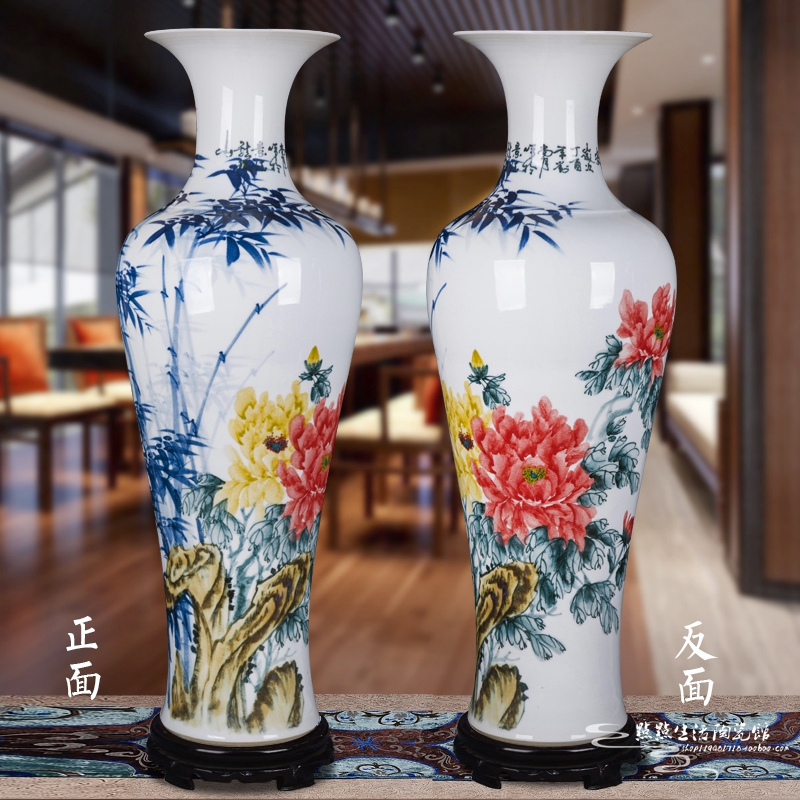 Jingdezhen ceramics large vase master hand-painted wealthy peaceful living room home floor new home decoration TV cabinet