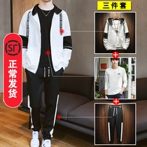Three sets)mens jacket Leisure Suit set with a handsome Korean version of the trend of sports autumn and winter plus velvet sweater