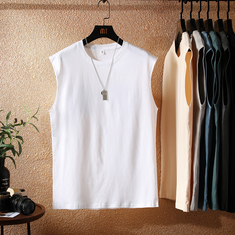 Tank top men's summer street pure cotton sleeveless T-shirt fashion brand personality all-around trend waistcoat