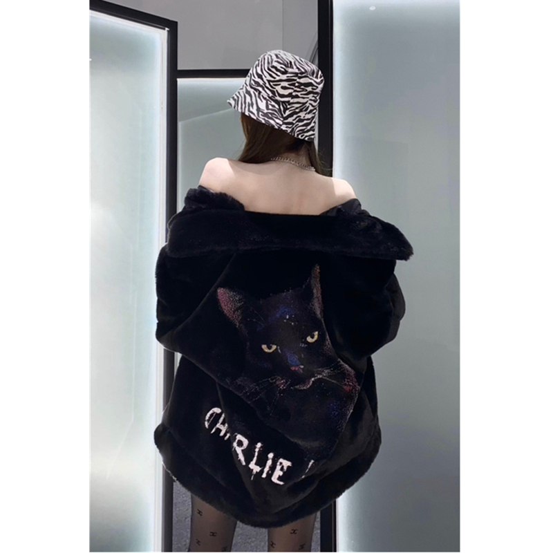 Charlie Lucianos official straight hair animal print fur coat womens high-end light luxury plush top
