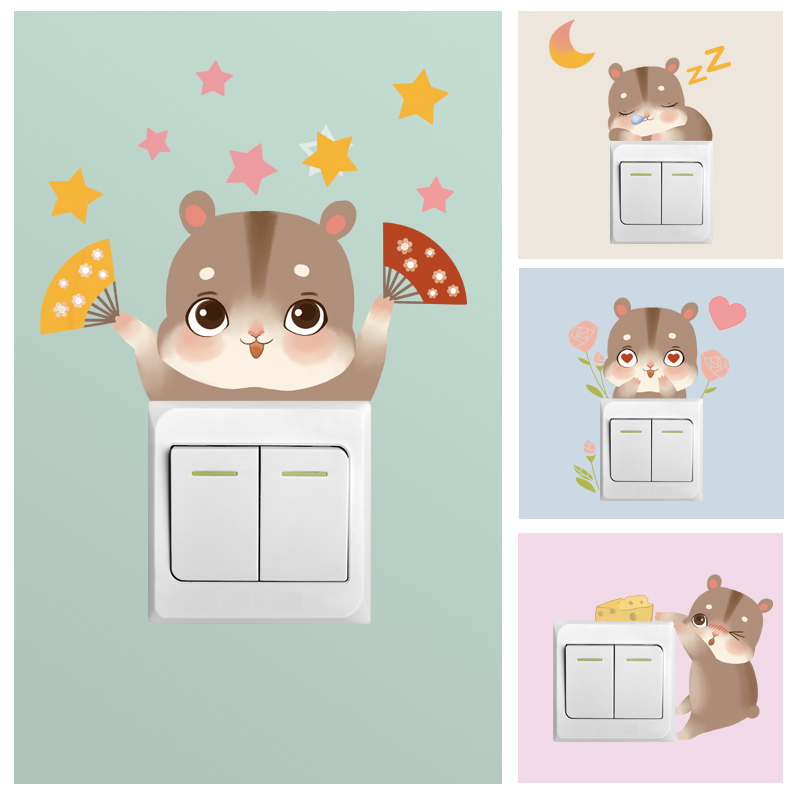 Cute Hamster Switch Sticking Wall Sticking Living Room Bedroom Warm Creative Socket Small Fresh Decorative Sticking Paper Self-Sticking Painting