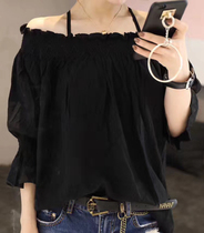 European station 2021 womens summer new European goods Korean version of the fashion word collar off-the-shoulder chiffon shirt foreign style top tide