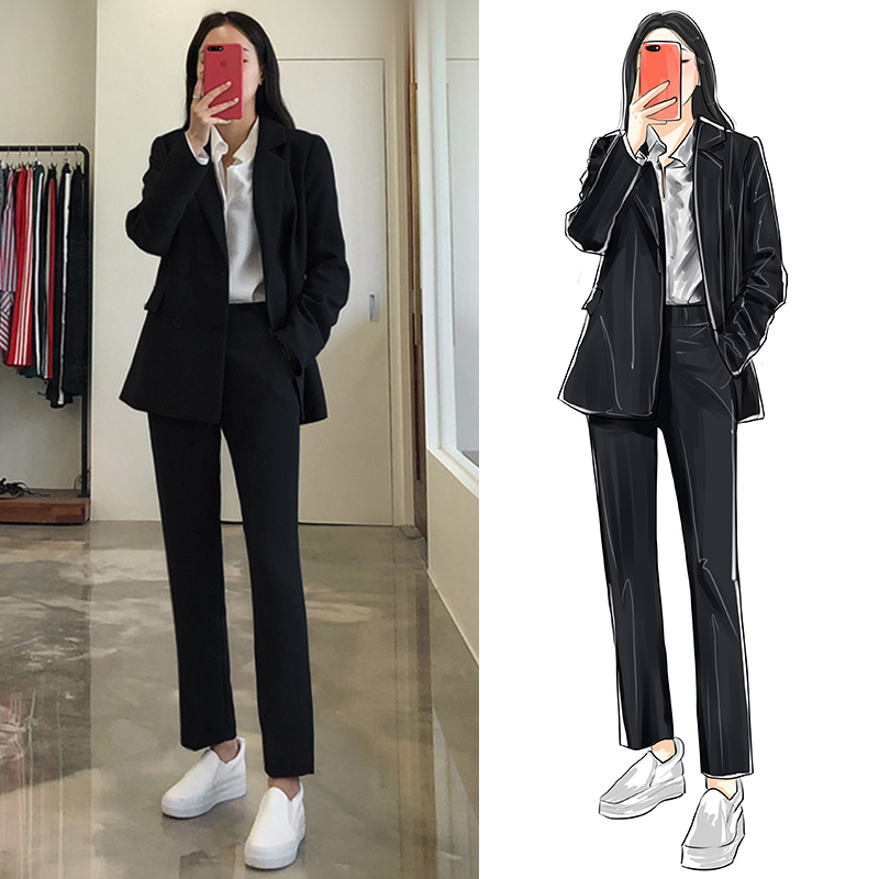 Suit suit female autumn and winter Korean version of casual fashion temperament work clothes are dressed female college students interview suit jacket
