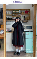 three-year-old black trench coat female autumn little man 2021 new long loose cotton coat