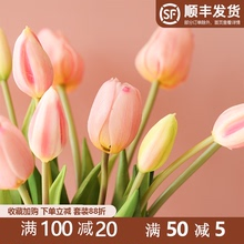 Imitation tulip artificial flower single high grade Pu silk flower dry flower dining table indoor living room flower arrangement decoration